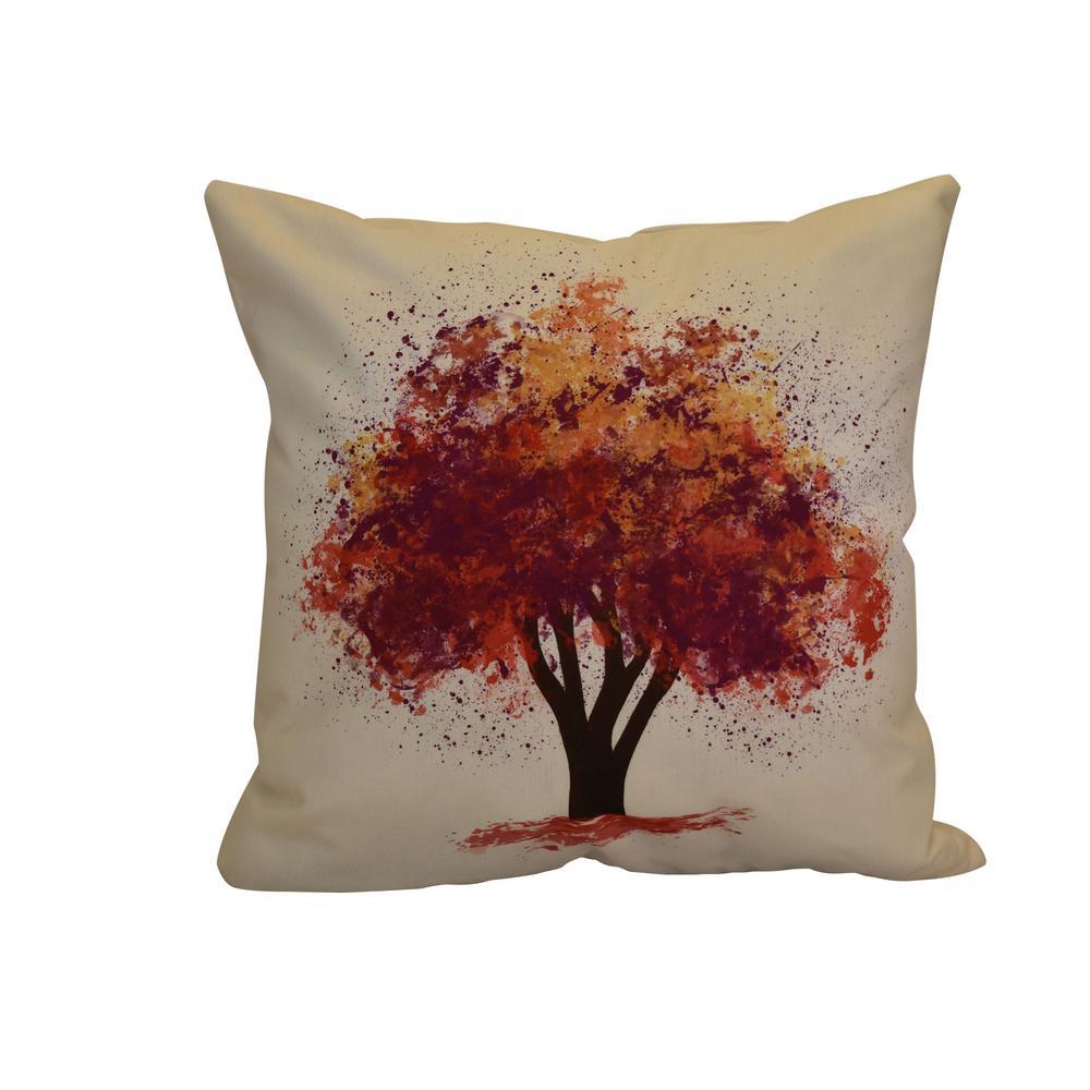 Fall Bounty, Floral Print Throw Pillow, Purple