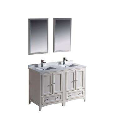 Oxford 48 in. Double Vanity in Antique White with Ceramic Vanity Top in White with White Basins and Mirror