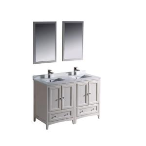 Fresca Oxford 48 inch Double Vanity in Antique White with Ceramic Vanity Top in White with White Basins and Mirror by Fresca