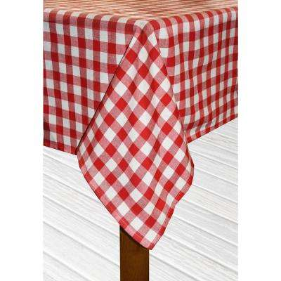 Buffalo Check 52 in. x 70 in. Red 100% Cotton Table Cloth for Any Table