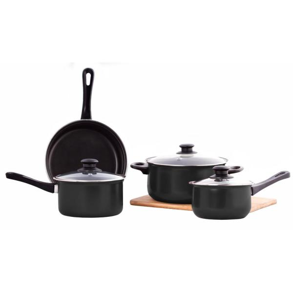 New 7pc Red Carbon Steel Cookware Set Pots /& Pan Induction Set Glass Lid Frying