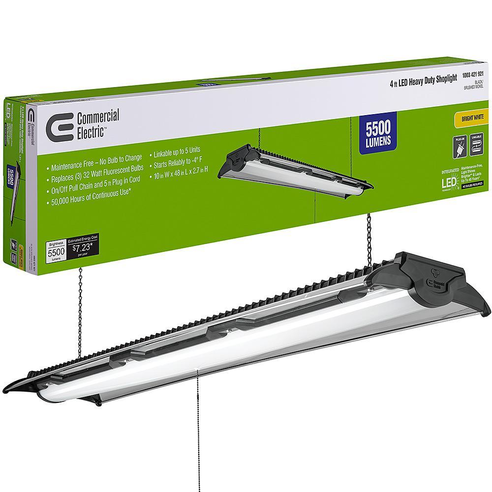 4 ft. 96-Watt Equivalent Integrated LED Black Brushed Nickel Shop Light 4000K High Output 5500 Lumens Linkable