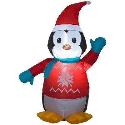 3.51 ft. Pre-lit Inflatable Penguin with Sweater Airblown