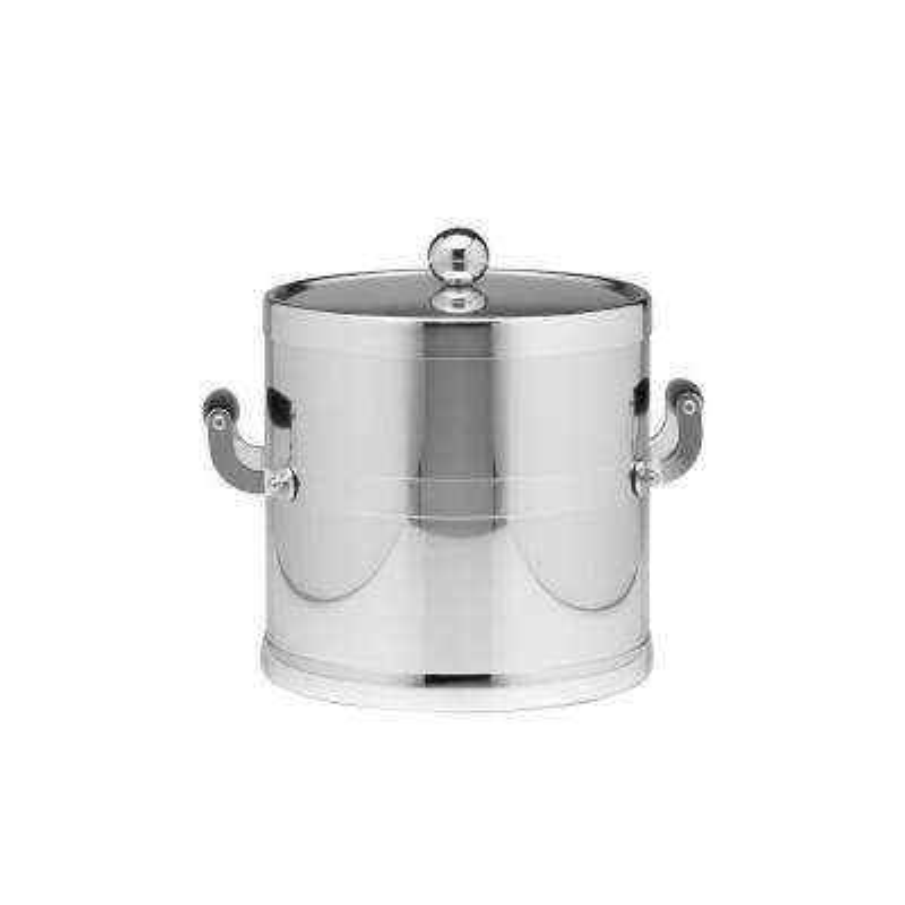 Americano 3 Qt. Polished Chrome Ice Bucket and Lid, Wood Side Handles