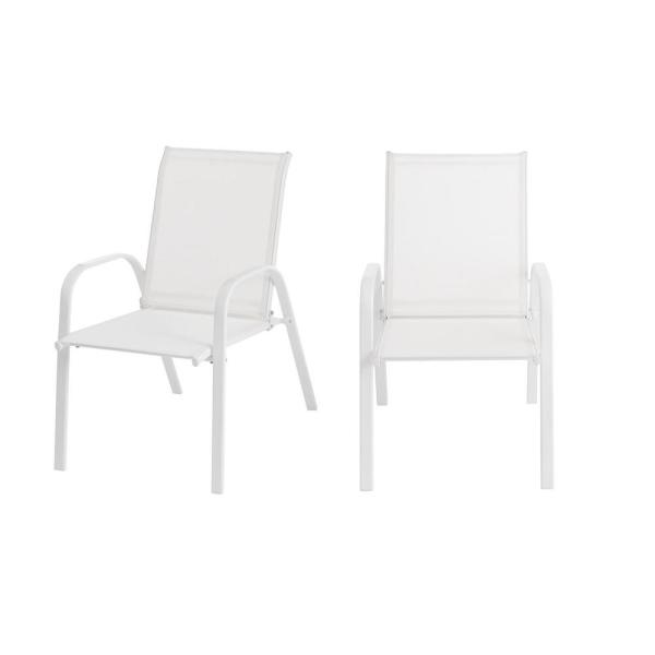 Mix and Match White Steel Sling Outdoor Patio Dining Chair in White (2-Pack)