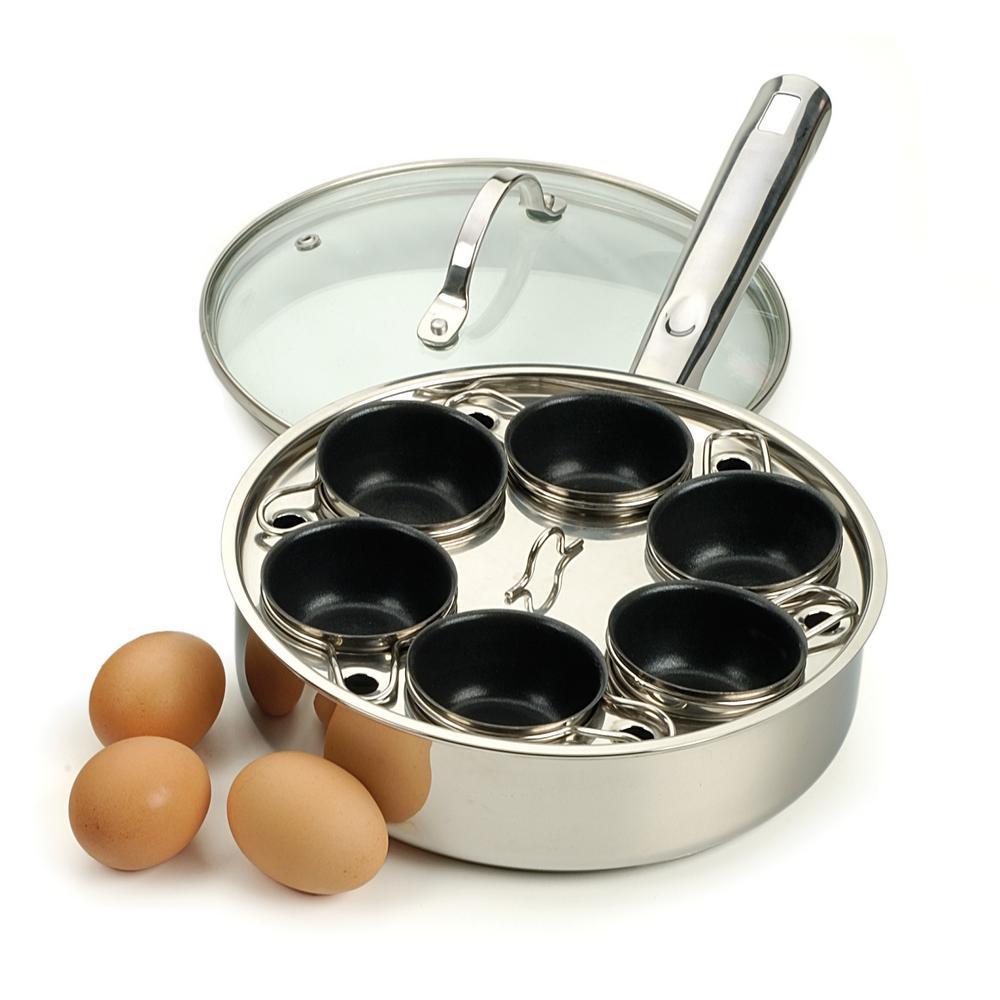 Egg Poacher Pan Stainless Steel 6 Egg Non Stick Egg Poacher /& Silicone Spatula