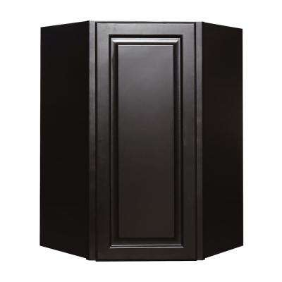 La. Newport Ready to Assemble 24x36x12 in. 1-Door Wall Diagonal Corner Cabinet with 2-Shelves in Dark Espresso