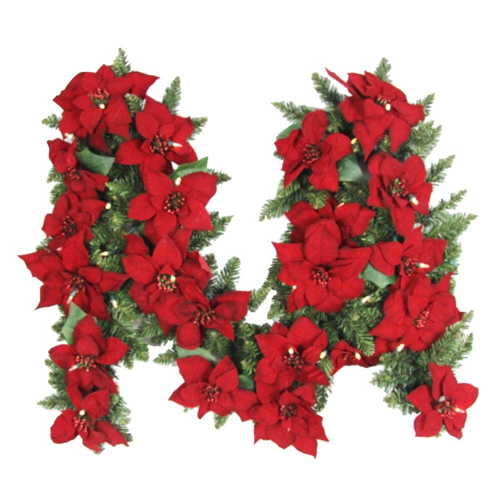 9 Ft Battery Operated Artificial Poinsettia Garland With