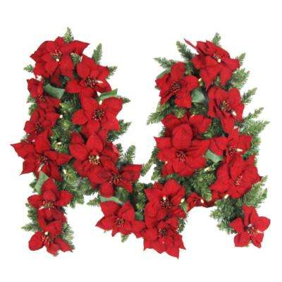 9 ft. Battery Operated Artificial Poinsettia Garland with 50 Clear LED Lights