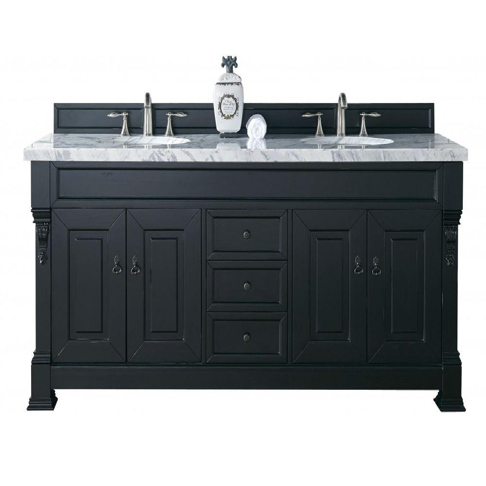James Martin Signature Vanities Brookfield 72 in. W Double Vanity in Antique Black with Marble Vanity Top in Carrara White with White Basin