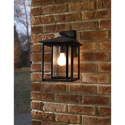 Hunnington 1-Light Black Outdoor 11 in. Wall Lantern Sconce