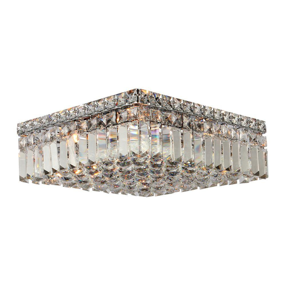 Cascade Collection 5 Light Crystal and Chrome Ceiling Light