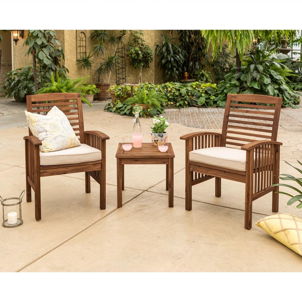 Walker Edison Furniture Company Dark Brown 3-pc Wood Conversational Patio Set w/ Cream Cushions
