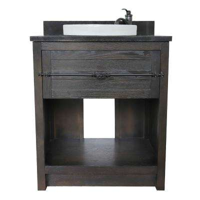 Plantation II 31 in. W x 22 in. D Bath Vanity in Brown with Granite Vanity Top in Black with White Round Basin