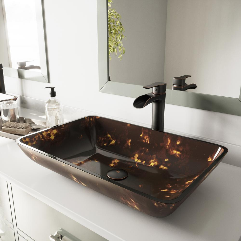 Vigo Vessel Sink In Brown And Gold Fusion And Niko Faucet