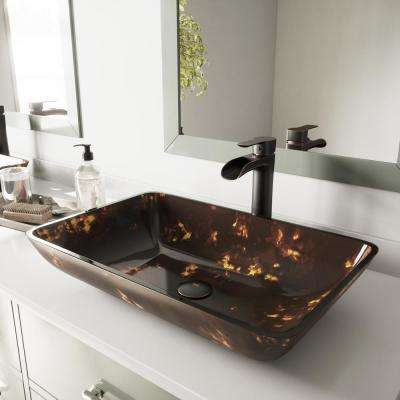 Vessel Sink in Brown and Gold Fusion and Niko Faucet Set in Antique Rubbed Bronze