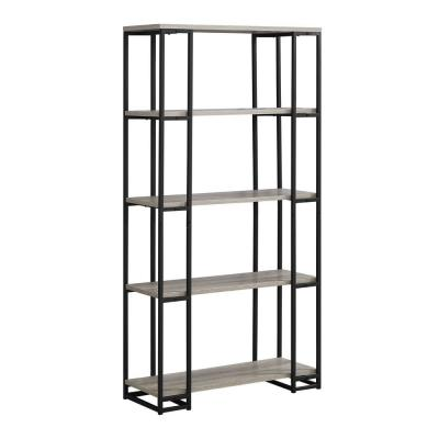62 in. Jasmine Metal Dark Taupe, Black 4-Shelf Bookcase