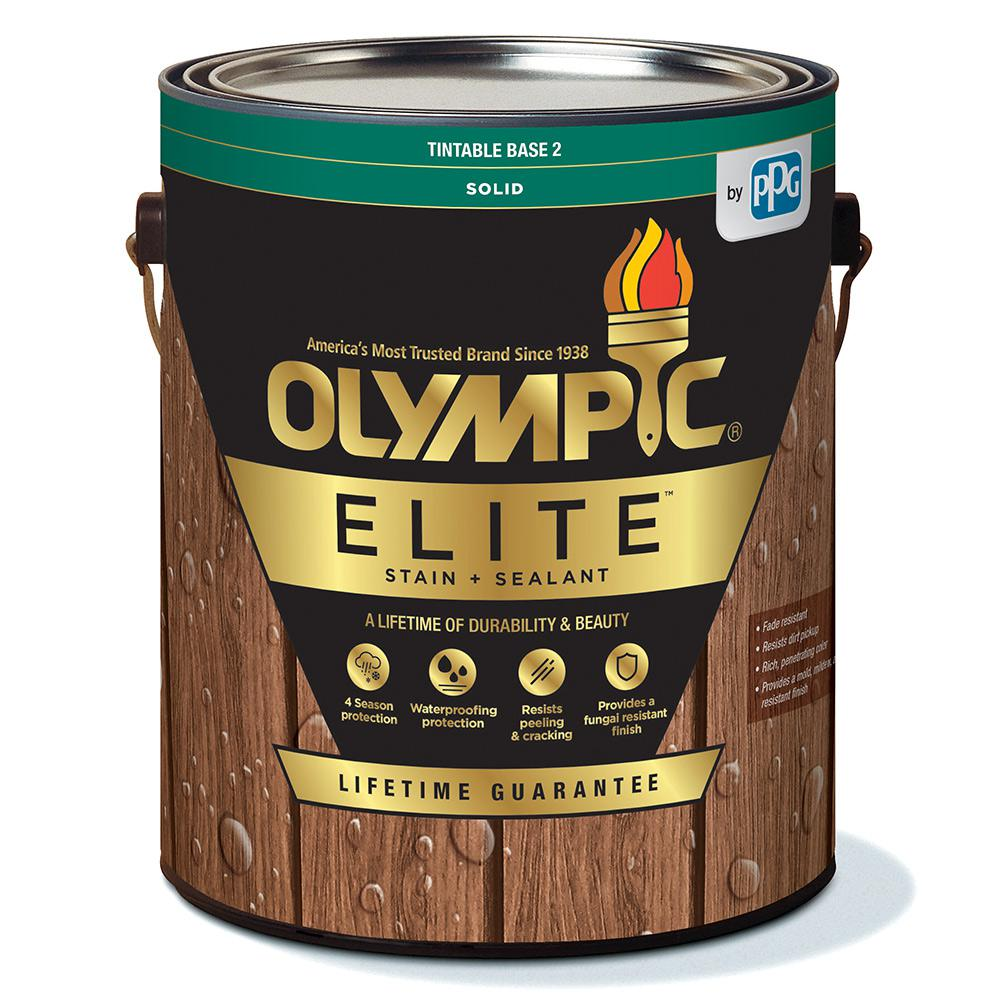 Olympic Elite 1 Gal Petrified Wood Solid Advanced Exterior Stain And Sealant In One Olysc33 01 The Home Depot