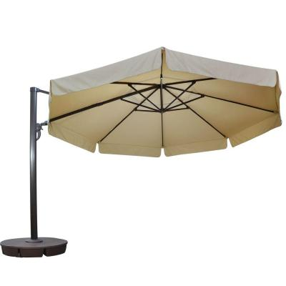 Victoria 13 ft. Octagonal Cantilever with Valance Patio Umbrella in Beige Sunbrella Acrylic