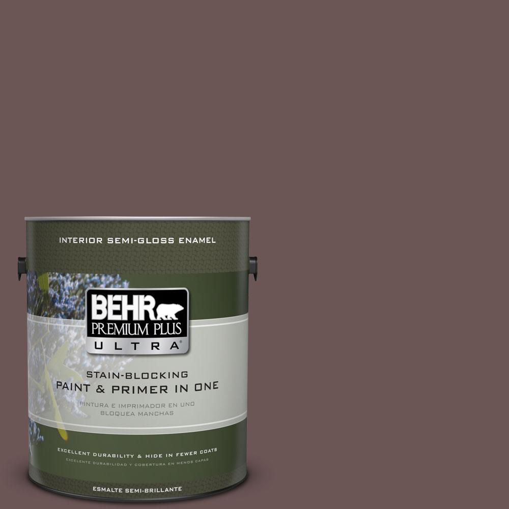 1 gal. #720B-6 Beechwood Semi-Gloss Enamel Interior Paint and Primer in