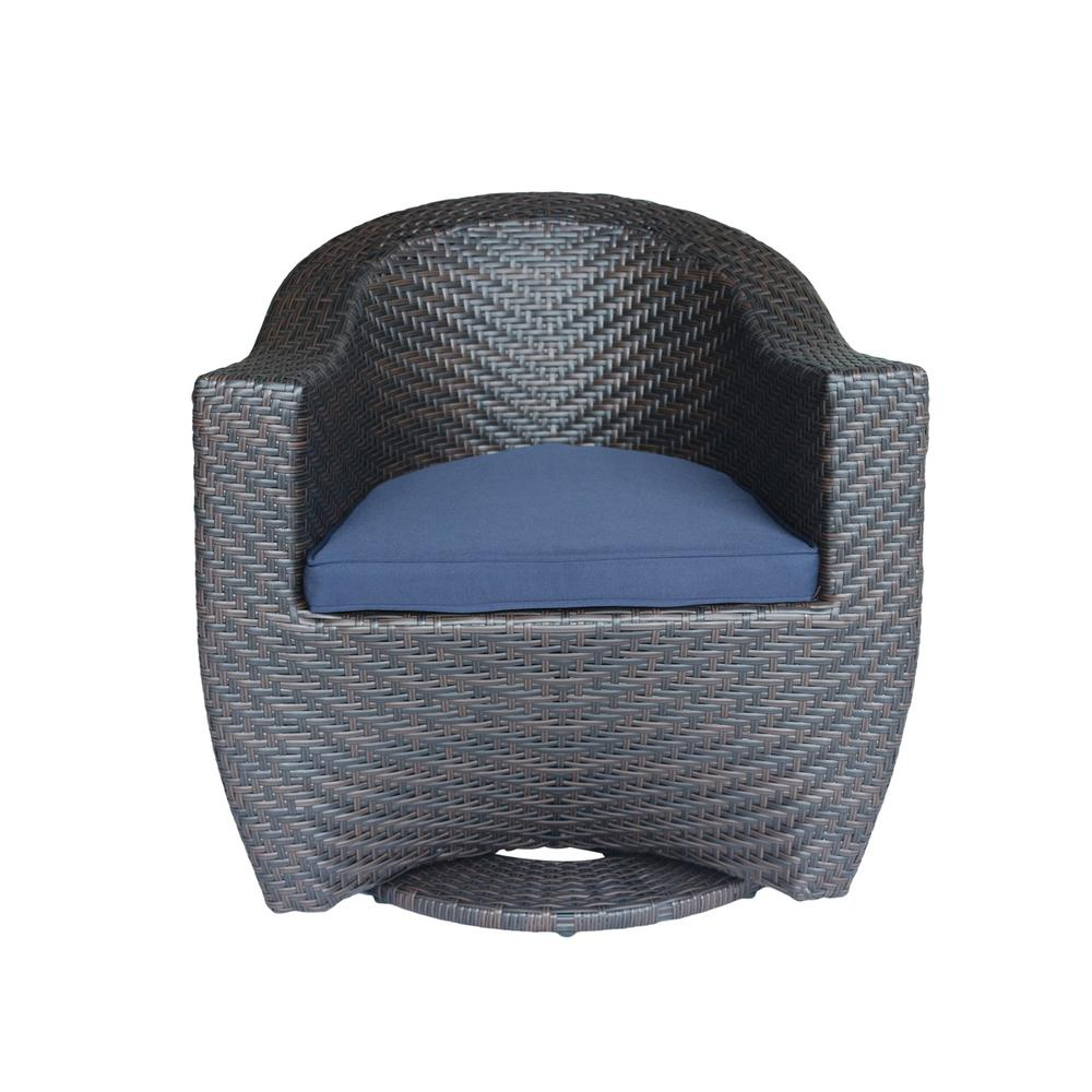 Larchmont Multi-Brown Swivel Wicker Outdoor Lounge Chair with Navy Cushion
