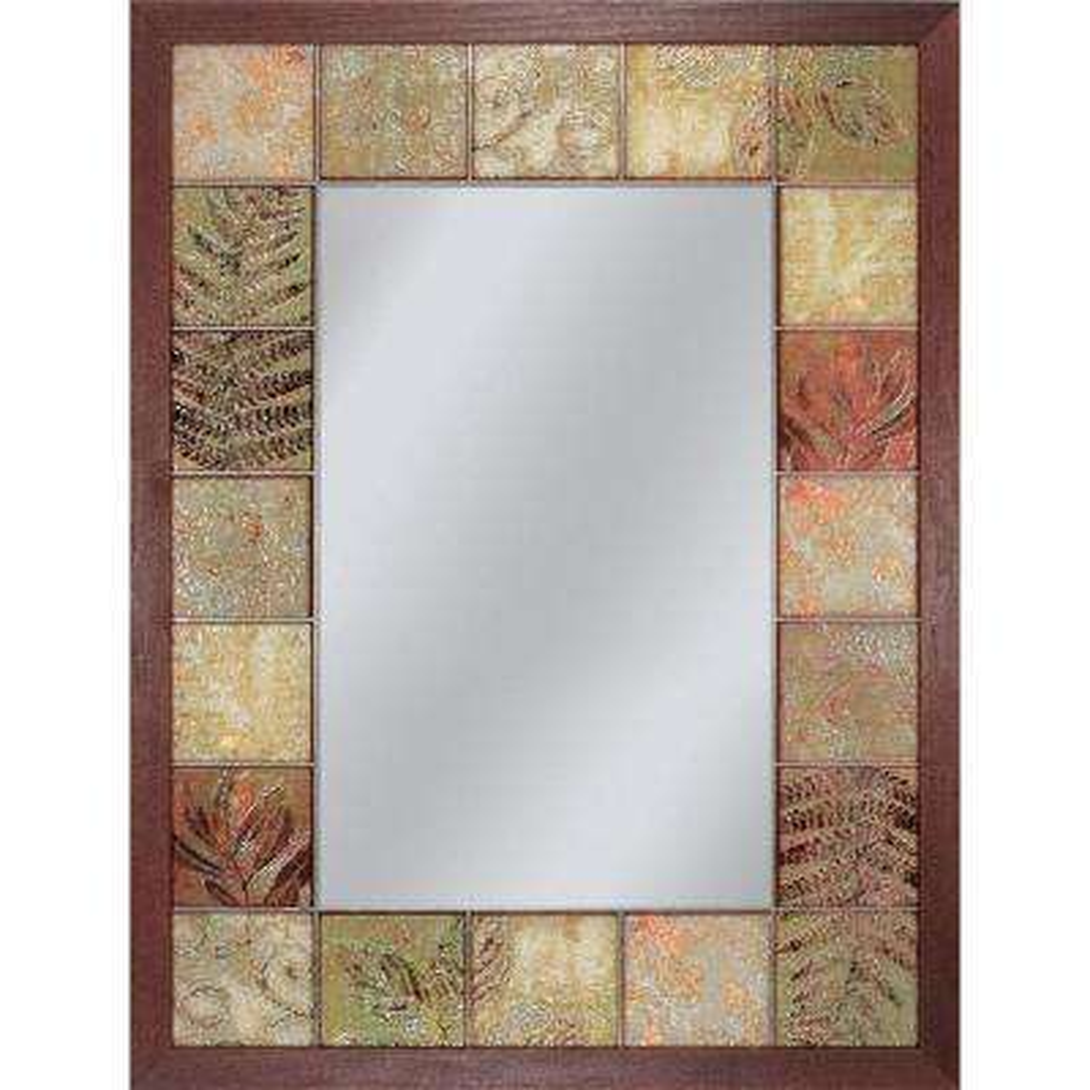 26 in. x 35 in. Leaf Tile Mirror in Brown