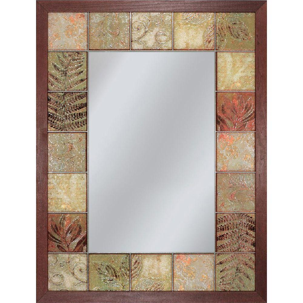 Deco Mirror 26 in. x 35 in. Leaf Tile Mirror in Brown