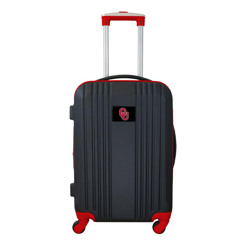 NCAA Oklahoma 21 in. Red Hardcase 2-Tone Luggage Carry-On Spinner Suitcase