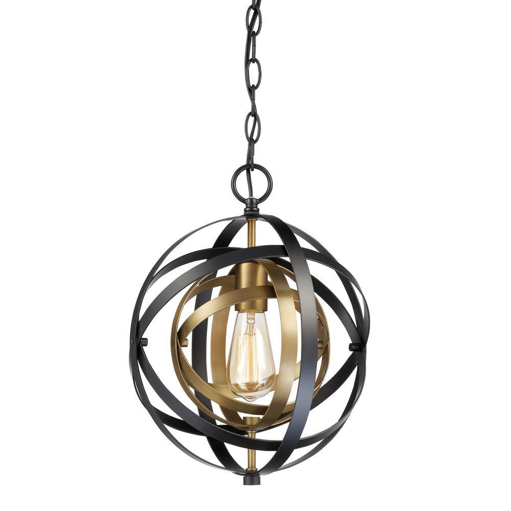 Monrovia 1-Light Antique Gold and Black Pendant