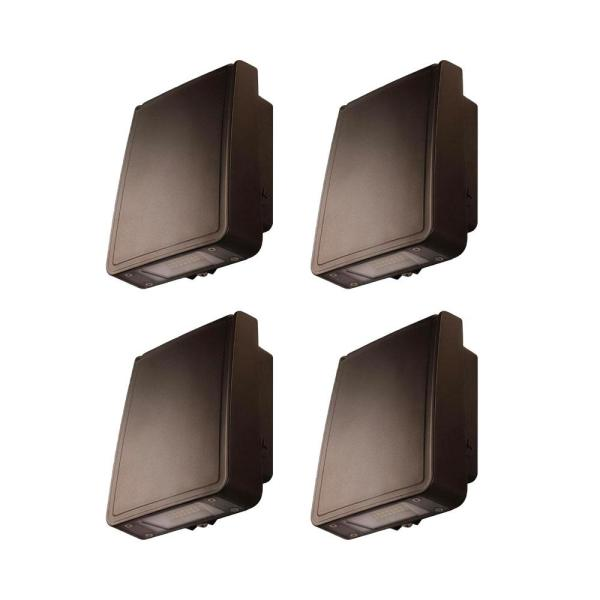Slim-Profile, 110-Watt Equivalent Integrated LED Wall Pack with 1600 Lumens, Outdoor Security Lighting (4-Pack)