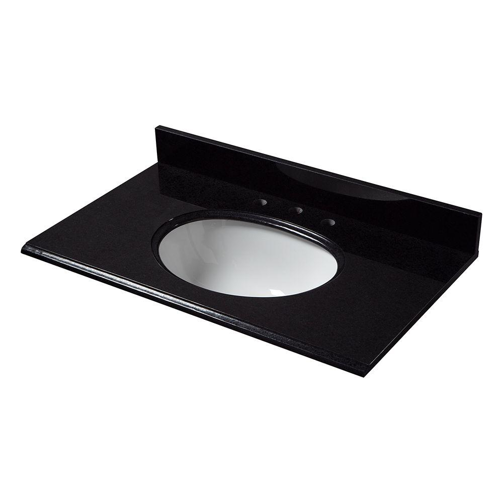 31 in. W Granite Vanity Top in Black with White Bowl