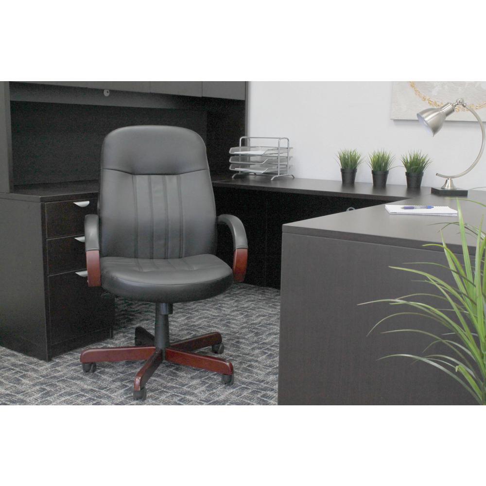 Black leatherplus executive chair with mahogany finish