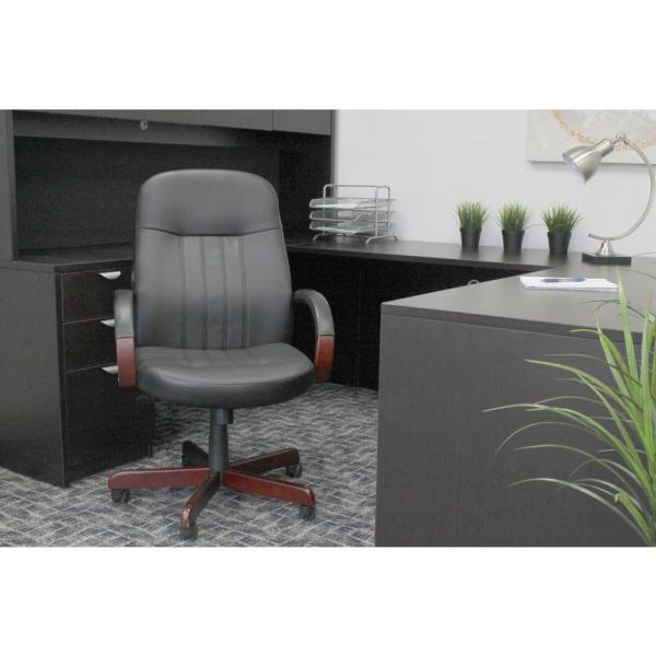 Boss Black LeatherPlus Executive Chair with Mahogany Finish B8376-M