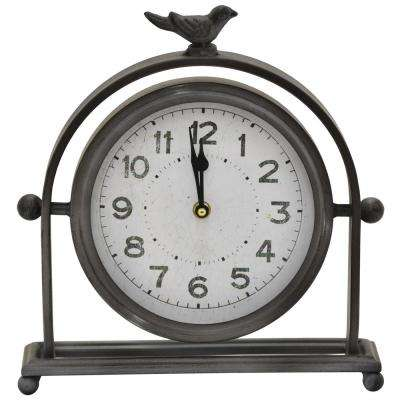 11.5 in. Table Top Clock in Black Finished Metal