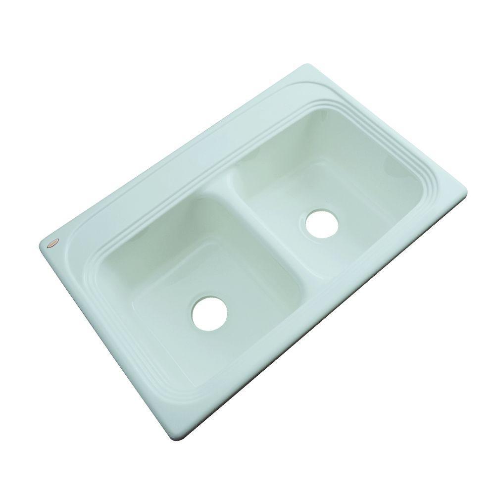 Thermocast Chesapeake Drop-In Acrylic 33 in. Double Basin Kitchen Sink in Seafoam Green