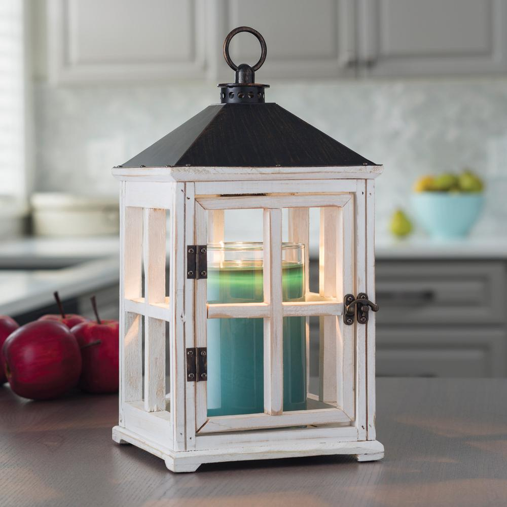 Perfect Candle Warmers Etc 13 In. Weathered White Candle Warmer Lantern