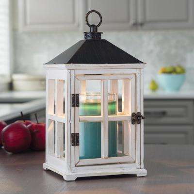 13 in. Weathered White Candle Warmer Lantern