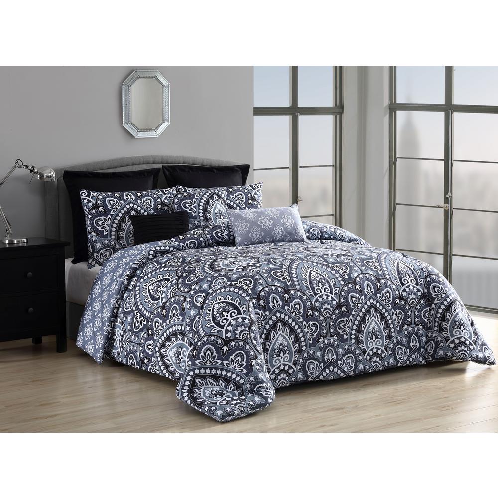 Palma 8-Piece Queen Black Comforter with Euro Shams