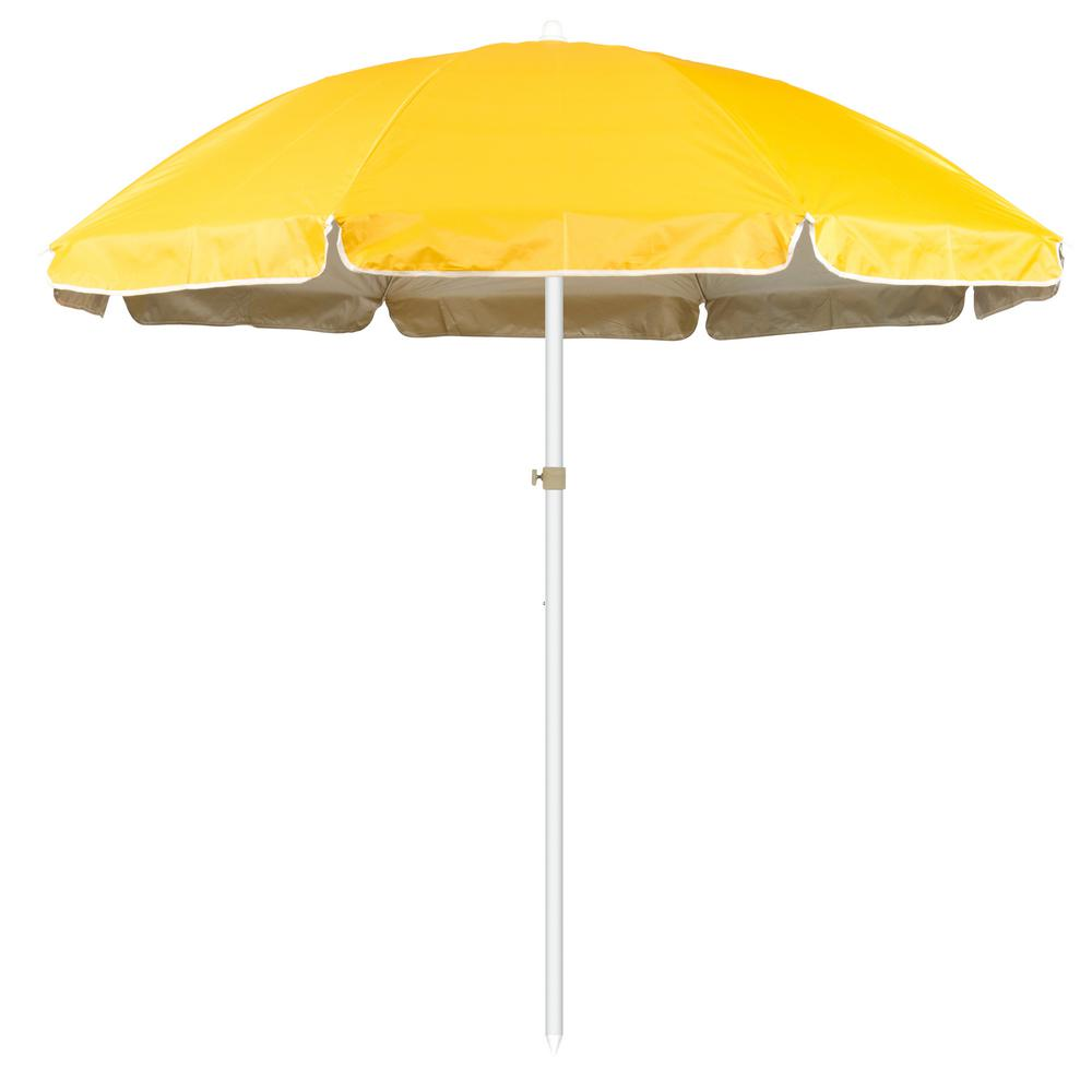 Market Portable Beach and Sports Patio Umbrella in Yellow - Trademark Innovations 6.5 Ft. Market Portable Beach And Sports Patio