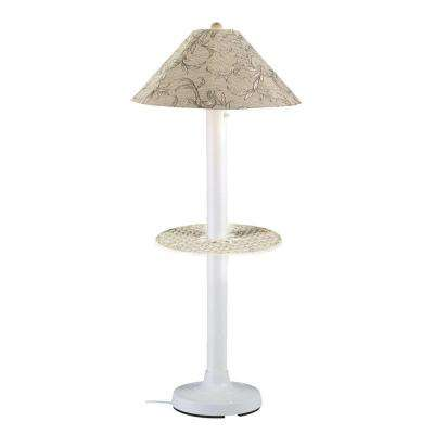 Catalina 63.5 in. White Outdoor Floor Lamp with Tray Table and Bessemer Linen Shade
