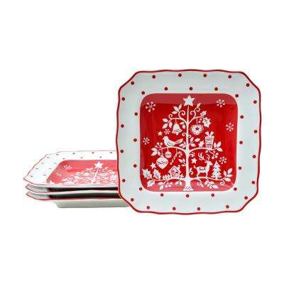 Tivoli Red Dessert Plates (Set of 4)