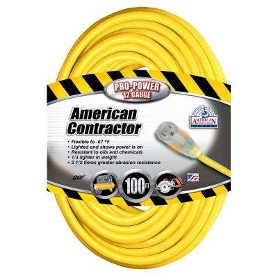 100 ft. 12/3 SJEO Outdoor Heavy-Duty T-Prene Extension Cord with Power Light Plug