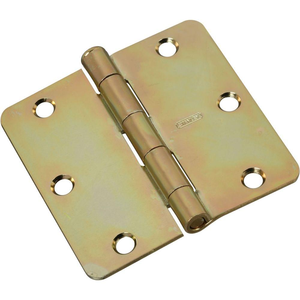 Stanley-National Hardware 3-1/2 in. x 3-1/2 in. Satin Brass Tone Residential Hinge