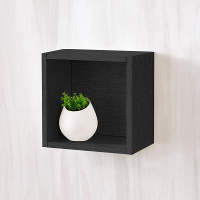 Halifax 7.7 x 11.2 x 11.2 zBoard  Wall Cube Decorative Floating Shelf in Black Wood Grain