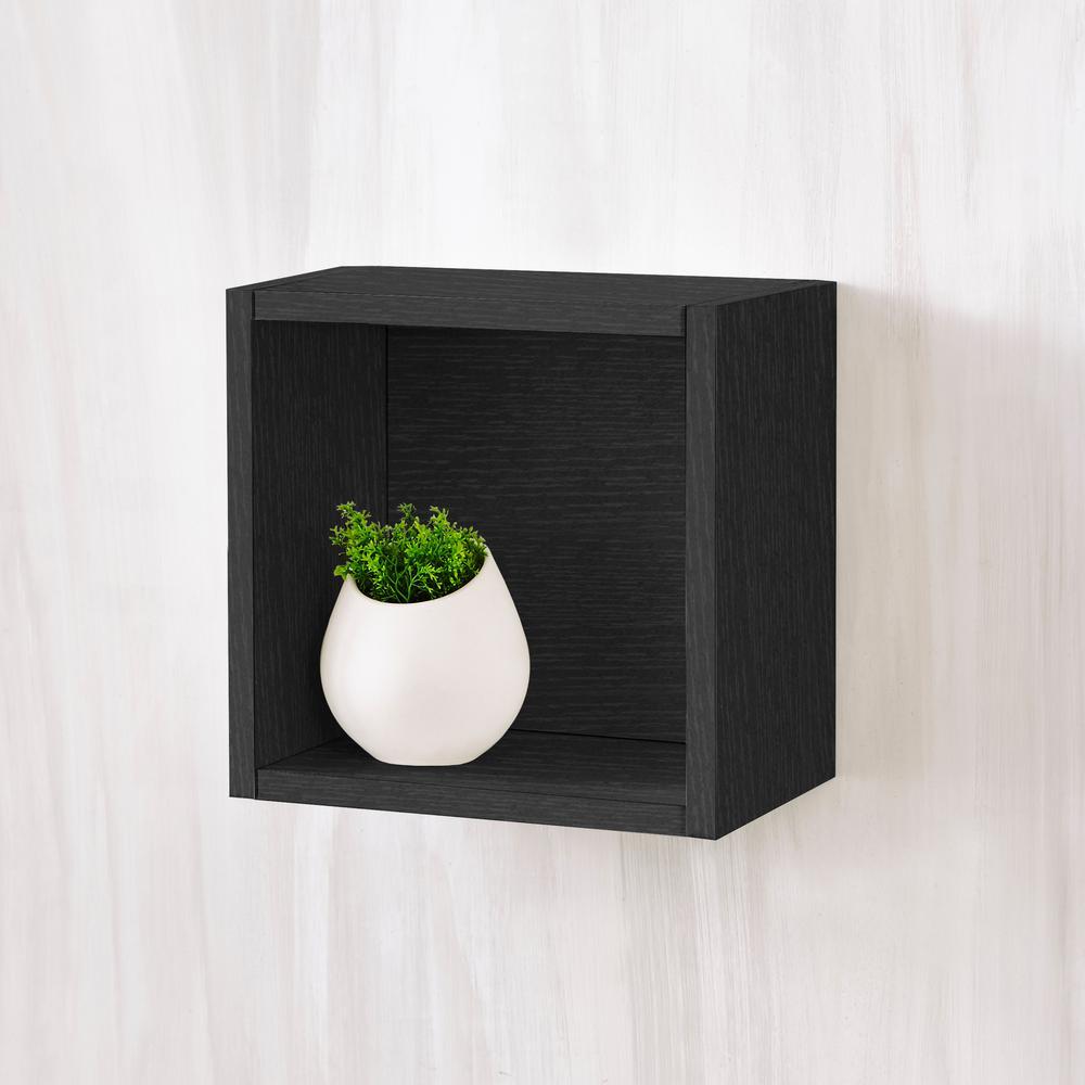 Halifax 7.7 x 11.2 x 11.2 zBoard  Wall Cube Decorative Floating Shelf in Black Wood Grain