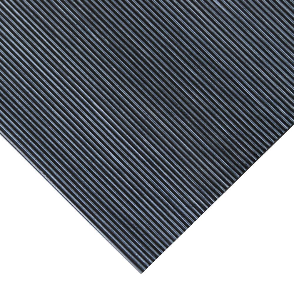 Corrugated Fine Rib 3 ft. x 4 ft. Black Rubber Flooring