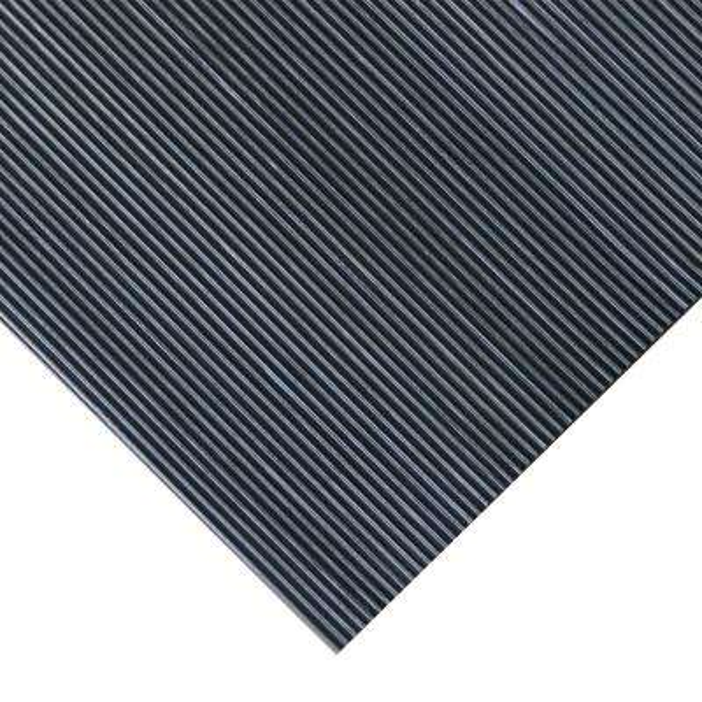 Corrugated Fine Rib 3 ft. x 8 ft. Black Rubber Flooring (24 sq. ft.)