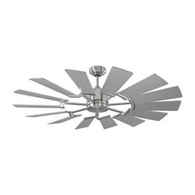 Prairie 52 in. Integrated LED Indoor/Outdoor Brushed Steel Ceiling Fan with Dual Washed Oak or Silver Blades and Remote