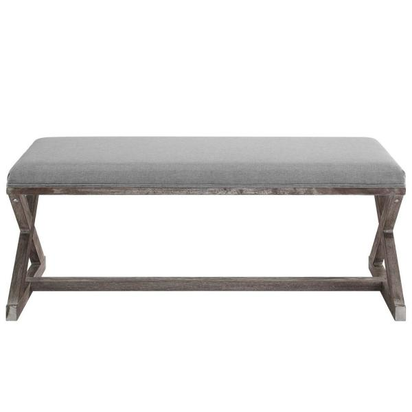 MODWAY Province Vintage French X-Brace Upholstered Fabric Bench in Light Gray