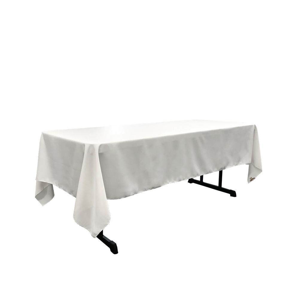 LA Linen Polyester Poplin 60 In. X 90 In. White Rectangular Tablecloth